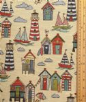 Beach huts Fabric UK 80% Cotton 20% Poly material upholstered feel - Price Per Metre